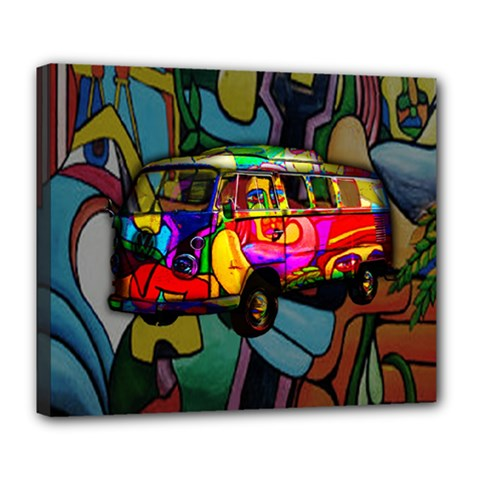 Hippie Van  Deluxe Canvas 24  X 20   by Valentinaart