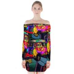 Hippie Van  Long Sleeve Off Shoulder Dress by Valentinaart