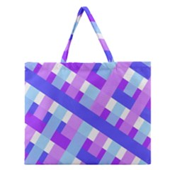 Geometric Plaid Gingham Diagonal Zipper Large Tote Bag by Simbadda