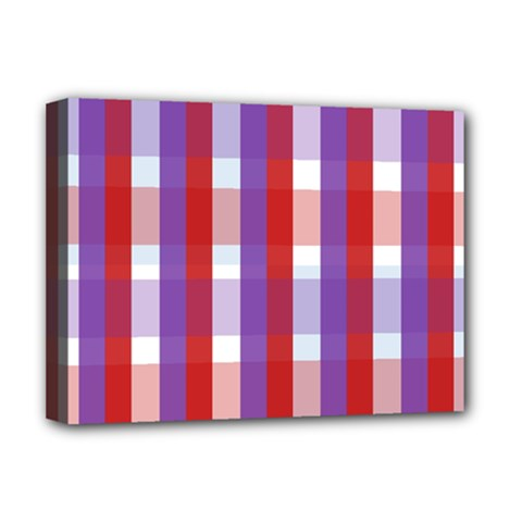 Gingham Pattern Checkered Violet Deluxe Canvas 16  X 12   by Simbadda