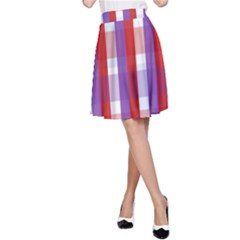 Gingham Pattern Checkered Violet A Line Skirt by Simbadda