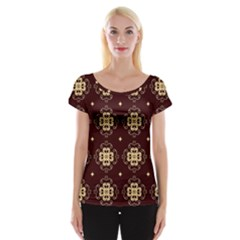 Seamless Ornament Symmetry Lines Women s Cap Sleeve Top