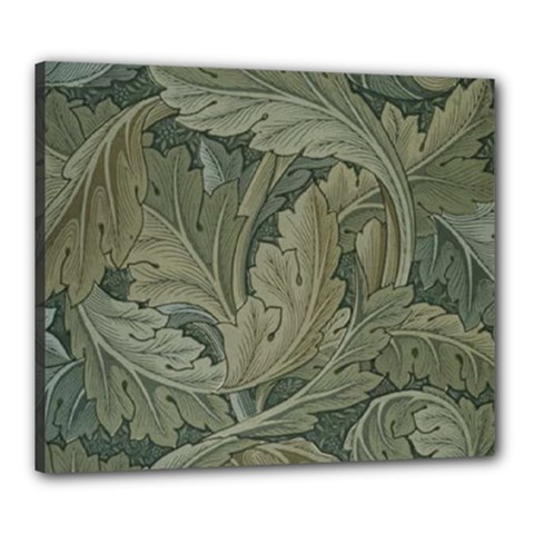 Vintage Background Green Leaves Canvas 24  X 20  by Simbadda