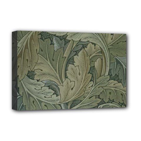 Vintage Background Green Leaves Deluxe Canvas 18  X 12   by Simbadda