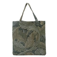 Vintage Background Green Leaves Grocery Tote Bag by Simbadda