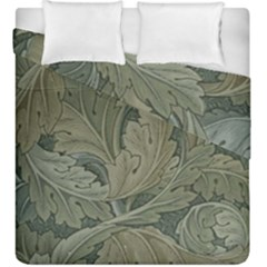Vintage Background Green Leaves Duvet Cover Double Side (king Size) by Simbadda