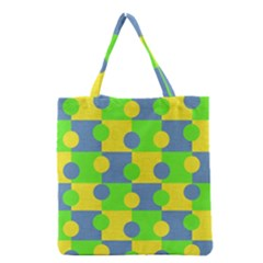 Abric Cotton Bright Blue Lime Grocery Tote Bag by Simbadda