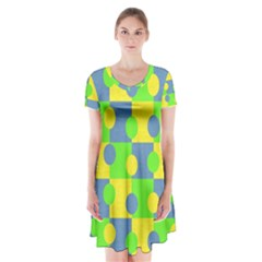 Abric Cotton Bright Blue Lime Short Sleeve V Neck Flare Dress