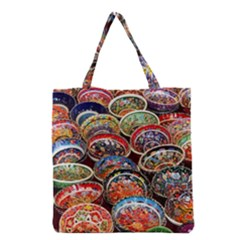 Art Background Bowl Ceramic Color Grocery Tote Bag by Simbadda