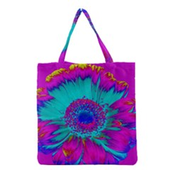 Retro Colorful Decoration Texture Grocery Tote Bag by Simbadda