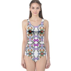 Floral Ornament Baby Girl Design One Piece Swimsuit by Simbadda