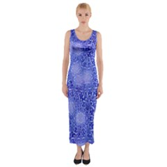 Retro Flower Pattern Design Batik Fitted Maxi Dress