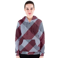 Textile Geometric Retro Pattern Women s Zipper Hoodie