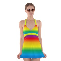 Rainbow Background Colourful Halter Swimsuit Dress