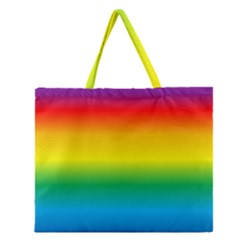 Rainbow Background Colourful Zipper Large Tote Bag by Simbadda