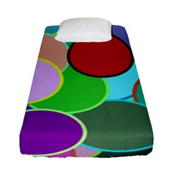 Dots Circles Colorful Unique Fitted Sheet (single Size) by Simbadda