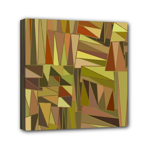 Earth Tones Geometric Shapes Unique Mini Canvas 6  X 6  by Simbadda