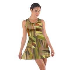 Earth Tones Geometric Shapes Unique Cotton Racerback Dress by Simbadda