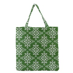 St Patrick S Day Damask Vintage Green Background Pattern Grocery Tote Bag by Simbadda