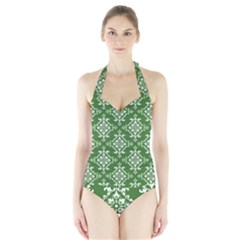 St Patrick S Day Damask Vintage Green Background Pattern Halter Swimsuit by Simbadda
