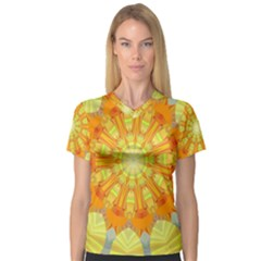 Sunshine Sunny Sun Abstract Yellow Women s V Neck Sport Mesh Tee