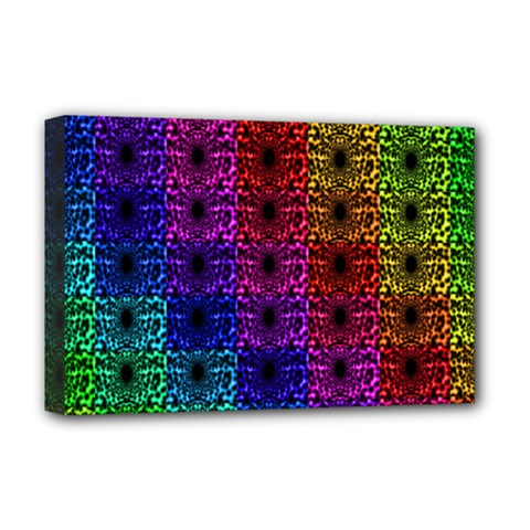 Rainbow Grid Form Abstract Deluxe Canvas 18  X 12   by Simbadda