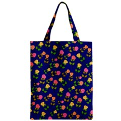 Flowers Roses Floral Flowery Blue Background Zipper Classic Tote Bag by Simbadda