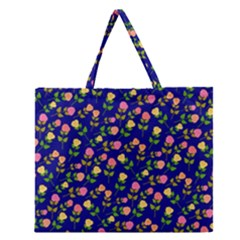 Flowers Roses Floral Flowery Blue Background Zipper Large Tote Bag by Simbadda
