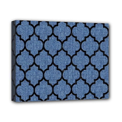 Tile1 Black Marble & Blue Denim (r) Canvas 10  X 8  (stretched)