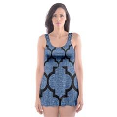 Tile1 Black Marble & Blue Denim (r) Skater Dress Swimsuit