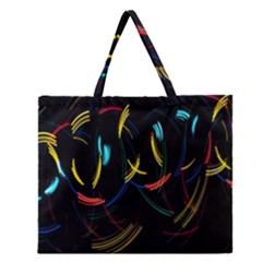 Yellow Blue Red Arcs Light Zipper Large Tote Bag by Alisyart