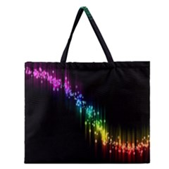 Illustrations Black Colorful Line Purple Yellow Pink Zipper Large Tote Bag by Alisyart