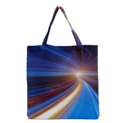 Glow Motion Lines Light Blue Gold Grocery Tote Bag by Alisyart