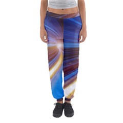 Glow Motion Lines Light Blue Gold Women s Jogger Sweatpants by Alisyart