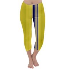 Yellow Blue Background Stripes Capri Winter Leggings
