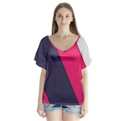 Pink Pattern Flutter Sleeve Top by Simbadda