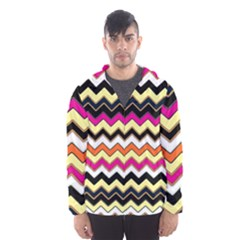 Colorful Chevron Pattern Stripes Pattern Hooded Wind Breaker (men) by Simbadda