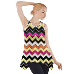 Colorful Chevron Pattern Stripes Pattern Side Drop Tank Tunic