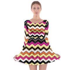 Colorful Chevron Pattern Stripes Pattern Long Sleeve Skater Dress