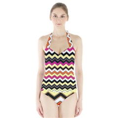 Colorful Chevron Pattern Stripes Pattern Halter Swimsuit