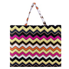 Colorful Chevron Pattern Stripes Pattern Zipper Large Tote Bag by Simbadda