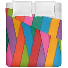 Colorful Lines Pattern Duvet Cover Double Side (california King Size) by Simbadda