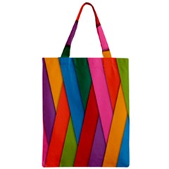 Colorful Lines Pattern Zipper Classic Tote Bag