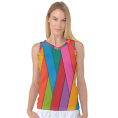 Colorful Lines Pattern Women s Basketball Tank Top by Simbadda