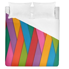 Colorful Lines Pattern Duvet Cover (queen Size) by Simbadda