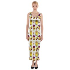 Hamburger And Fries Fitted Maxi Dress