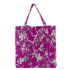 Floral Pattern Background Grocery Tote Bag by Simbadda