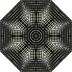Interwoven Grid Pattern In Green Folding Umbrellas by Simbadda