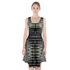 Interwoven Grid Pattern In Green Racerback Midi Dress
