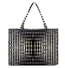 Interwoven Grid Pattern In Green Medium Zipper Tote Bag by Simbadda